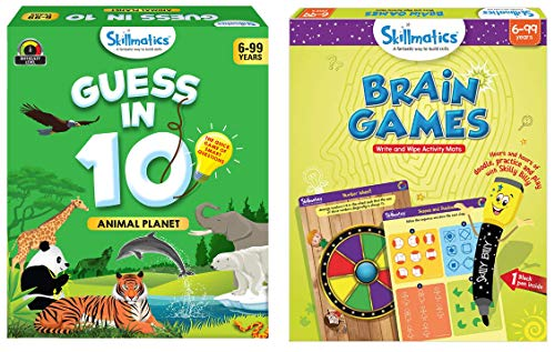 Skillmatics - Guess in 10 Animal Planet + Brain Games (Ages 6-99) Bundle | Card Game of Smart Questions + Reusable Activity Mats | Gifts for Kids
