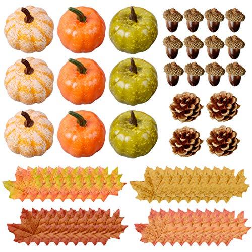Diateklity 70 Artificial Harvest Decoration, Thanksgiving Artificial Pumpkins Home Decoration Set with 45 Fake Maple Leaves + 12 Fake Acorns + 4 Fake Pinecones + 9 Fake Pumpkins