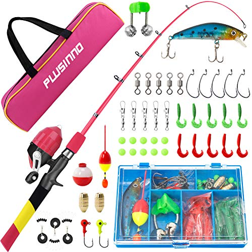 PLUSINNO Kids Fishing Pole, Rainbow Series Portable Telescopic Fishing Rod and Reel Combo Kit - with Spincast Fishing Reel Tackle Box for Boys, Girls, Youth