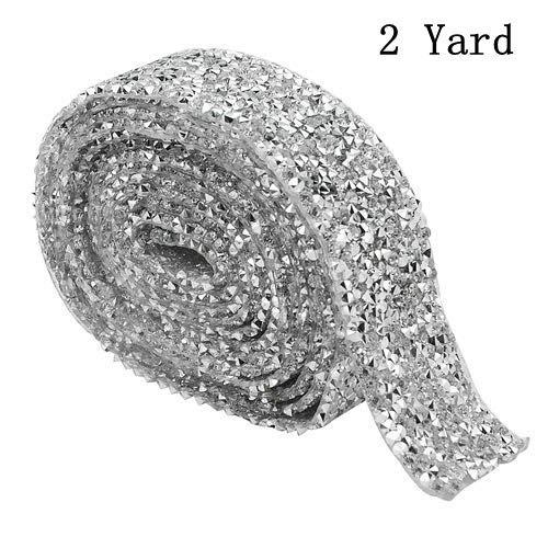 XLX 3cm Wide 2 Yard Crystal Rhinestone Diamond Ribbon Adhesive Diamond Belt Glue Patch Decorated Diamond Netfor Crafts Project Birthday Decorations Baby Shower Events and Arts Furniture Clothing