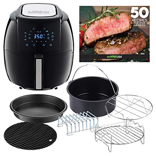GoWISE USA GWAC22003 5.8-Quart Air Fryer with Accessories, 6 Pcs, and 8 Cooking Presets + 50 Recipes (Black), Qt