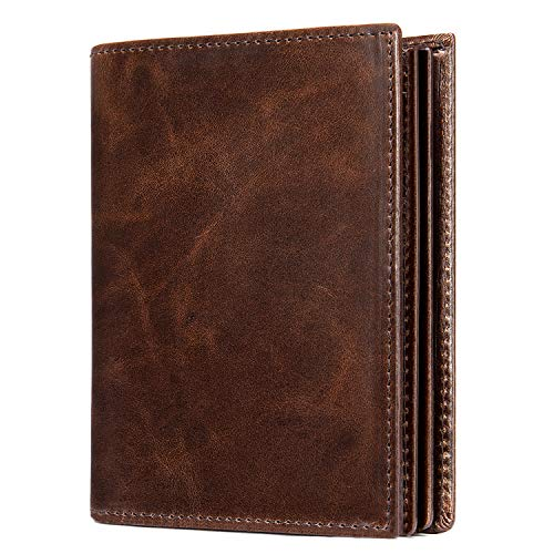 Mens Leather Bifold RFID Vertical Wallet Extra Large Capacity Card Holder with 16 Slots and ID Window Brown