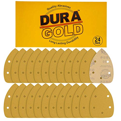 Dura-Gold - Premium Hook & Loop - 24 Sheets of 80 Grit 5-Hole Hook & Loop Sanding Sheets for Mouse Sanders - Box of 24 Sheets for Woodworking and Auto Painting