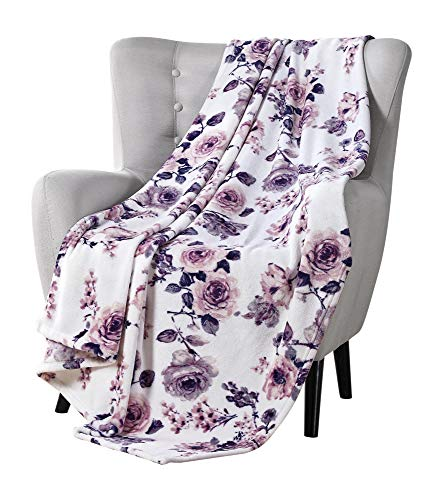 VCNY Decorative Throw Blankets: Soft Plush Lively Rose Floral Accent for Couch or Bed, Colored: Blush Pink Purple Navy Blue Grey White