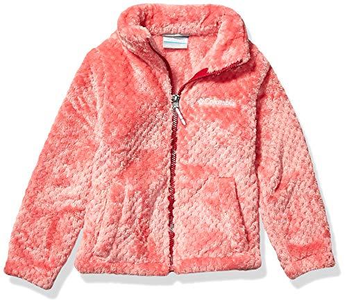Columbia Big Girl's Fire Side Faux Sherpa Full Zip Outerwear, wild salmon, Large