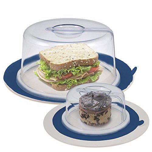 2 PlateTopper (Mini & Tall) Universal Leftover Lid Microwave Cover Airtight BLUE