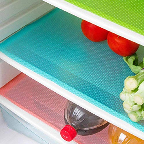 seaped 5 Pcs Refrigerator Mats,EVA Refrigerator Liners Washable Can Be Cut Refrigerator Pads Fridge Mats Drawer Table Placemats,Shelves Drawer Table Mats,Size 17.6'x11.3',Red/1 Green/2 Blue/2