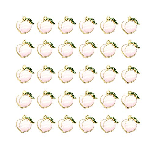 Mystart 30 Pcs Three-Dimensional Peach Fruit Alloy Charms Pendants for Earrings Necklace Jewelry