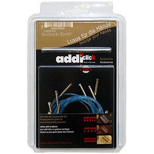 addi Click Interchangeable Knitting Needle Skacel Exclusive Blue Cords for Short Rocket Lace Set w/Connector 16/20/24/32/40 in. (40/50/60/80/100cm)