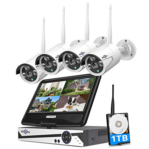 [8CH Expandable, 2K] Hiseeu All-in-one with 8CH 10.1' 1296P Monitor Wireless Security Camera System, 4pcs 3MP Indoor/Outdoor Wireless Home Security Camera System, Remote Access, One-way Audio, 1TB HDD