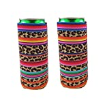 2pcs Neoprene Slim Beer Can Cooler Tall Stubby Holder Foldable Stubby Holders Beer Cooler Bags Fits 12oz Slim Energy Drink & Beer (Rainbow-Leopard)