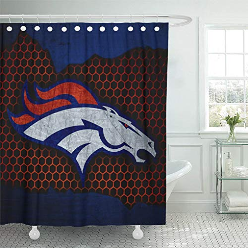 Ladble Decor Shower Curtain Set with Hooks Denver City Broncos Football Grunge Metal Texture West Division 66 X 72 Inches Polyester Waterproof Bathroom