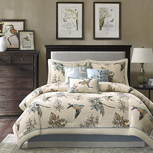 Madison Park Cozy Comforter Nature Scenery Design All Season, Matching Bed Skirt, Decorative Pillows, Cal King(104'x92'), Quincy, Leaf & Bird Khaki, 7 Piece