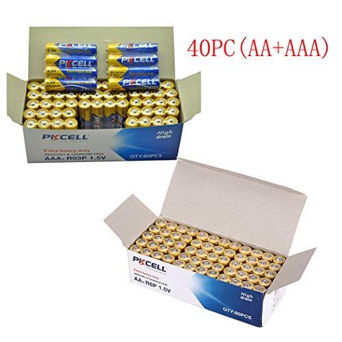 40Pcs AA + 40 Pcs AAA 1.5V Extra Heavy Duty Batteries (80 Combo Pcs) (40(AA+AAA))
