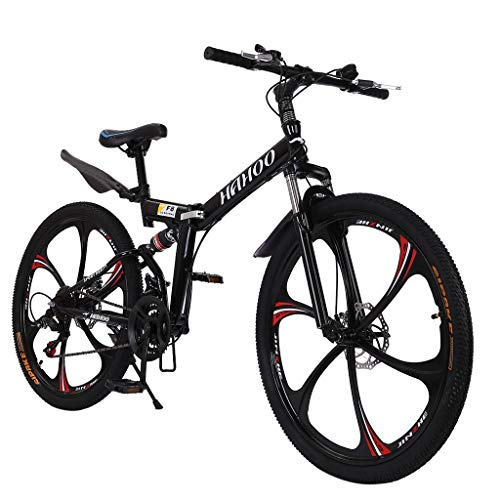LARNOR 26in Mountain Bike, Full Suspension Road Bikes with Disc Brakes, 21 Speed Dual Disc Brakes Aluminum Frame MTB Bikes for Men/Women (Black)