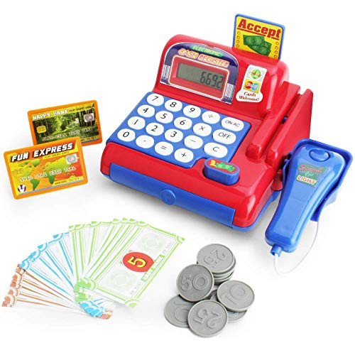 Boley Toy Cash Register with Scanner - Red and Blue Toddler Cash Register Toy for Kids with Real Calculator, Play Money, Credit Card Reader