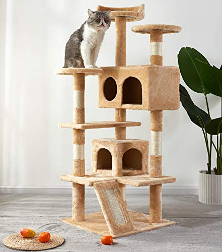 Merax Cat Tree, Multi-Level Pet Cat Activity Tree House Condo with Scratching Board and 2 Plush Rooms