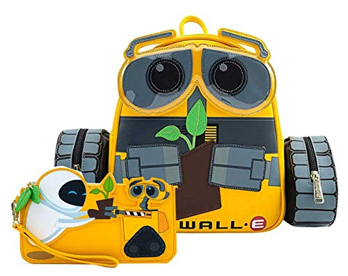 Loungefly Disney WALL-E Plant Boot Faux Leather Mini Backpack and Wallet Set