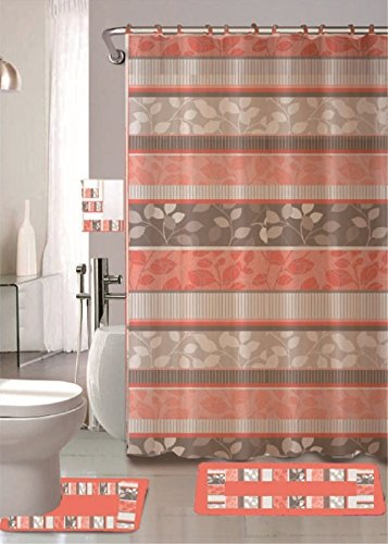 WPM WORLD PRODUCTS MART Zen 18-Piece Bathroom Set: 2-Rugs/mats, 1-Fabric Shower Curtain, 12-Fabric Covered Rings, 3-pc. Decorative Towel Set (Peach)