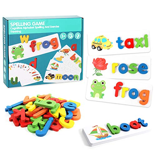 Matching Letter Game, Letter Spelling and Writing Toys for Preschool Kindergarten Alphabets Letters Sight Word Matching Games for Kids Spelling Puzzle Flashcard Learning Game for Age 3+ Years Old