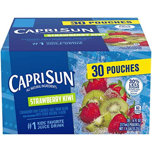 Capri Sun Strawberry Kiwi Ready-to-Drink Juice (30 Pouches, 3 Boxes of 10)