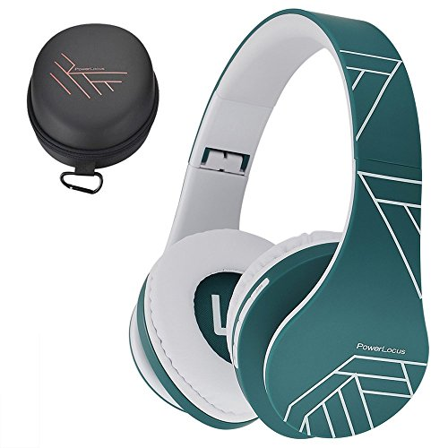 PowerLocus Bluetooth Over-Ear Headphones, Wireless Stereo Foldable Headphones Wireless and Wired Headsets with Built-in Mic, Micro SD/TF, FM for iPhone/Samsung/iPad/PC (Blue/White)