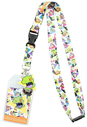 Nickelodeon 90s Rugrats Ren and Stimpy Catdog ID Lanyard Badge Holder with Reptar Pendant and Collectible Sticker