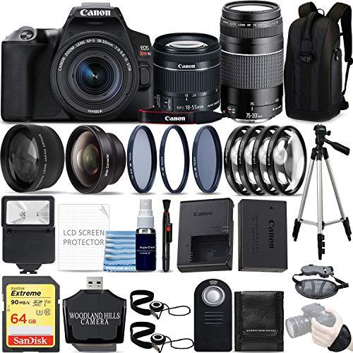 Canon EOS Rebel SL3 4K DSLR Camera (Black) with EF-S 18-55mm is STM and EF 75-300mm f/4-5.6 III Lens Kit 64GB Ultimate Travel Bundle