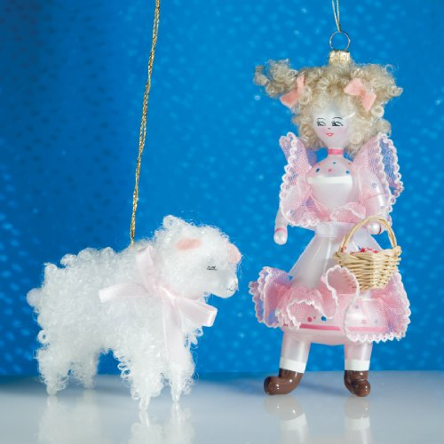 De Carlini Mary and Lamb Italian Mouthblown Glass Christmas Ornaments Set of Two