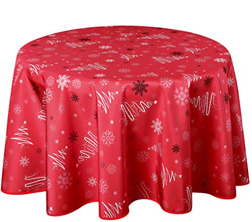Biscaynebay Printed Fabric Tablecloths, Water Resistant Spill Proof Tablecloths for Dining, Kitchen, Wedding and Parties, Fancy Christmas Tree Red 70 Inches Round