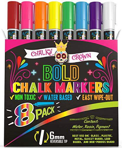 Liquid Chalk Markers for Blackboards - Bold Color Dry Erase Marker Pens - Chalk Markers for Chalkboards Signs, Windows, Blackboard, Glass - 6mm Reversible Tip (8 Pack) - 24 Chalkboard Labels Included
