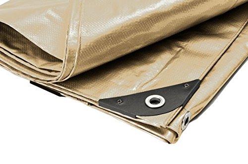 Canopies and Tarps Heavy Duty Tan Tarp, 8' x 16' – 14x14 Weave Polyethylene Premium Tarpaulin, Waterproof & UV-Resistant
