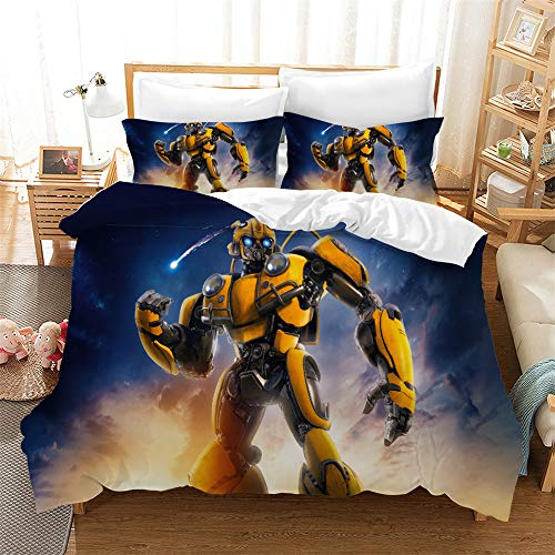 NOOS 3D Marvel Transformers Duvet Cover Set for Boys Optimus Prime and Bumblebee Bedding Set Twin Size, 100% Microfiber Kids and Teens Bed Set 3pcs(1Duvet Cover, 2Pillowcase) No Comforter Inside
