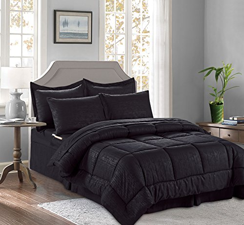 8-Piece Bed-in-a-Bag Comforter Set on Amazon! Celine Linen - Silky Soft Bamboo Design Comforter ,Bed Sheet Set ,with Double Sided Storage Pockets, King/Cal King, Black