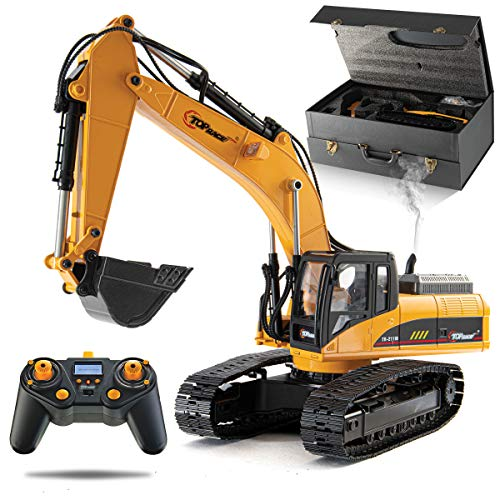 Top Race 23 Channel Hobby Remote Control Excavator, V4, Construction Vehicle RC Tractor, Full Metal Excavator Toy, Carries 180 Lbs, Diggs 1.1 Lbs Per Cubic Inch, Real Smoke, Use With our RC Dump Truck