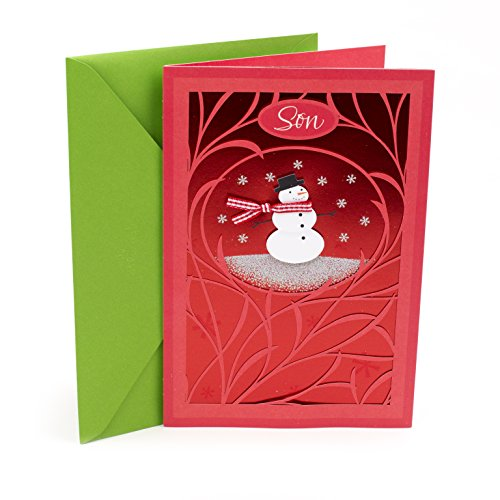 Hallmark Christmas Card for Son (Snowman with Red Background)