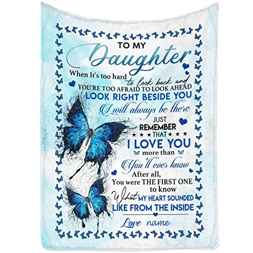 Custom Name Message Love Letter Blanket to My Daughter from Mom & Dad, I Love You More Than You'll Ever Know Butterfly Personalized Gift Throw Blanket 60 x 80 Inches