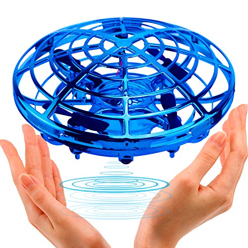 UFO Flying Ball Toys,TURN RAISE Motion Hand-Controlled Suspension Helicopter ToyInfrared Induction Interactive Drone Indoor Flyer Toyswith 360°Rotating and Flashing LED Lightsfor Kids,Boys,Girls