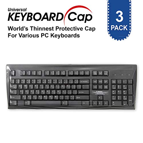 Fully Covered Flat Style Easily Sanitized Universal 0.025mm Wipeable Superb Tactile Feeling Waterproof Anti-Dust Keyboard Cap Cover for Desktop Keyboard with Numeric Hospital/Dentist Use [3 Pack]