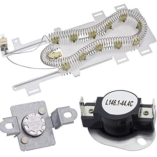 8544771 Dryer Heating Element and 279973 Thermal Fuse & Thermostat Cut Off Kit by Blue Stars - Exact Fit for Whirlpool & Kenmore Dryers Replaces WP8544771 PS11746337 EAP11746337 7154072 AP6013115