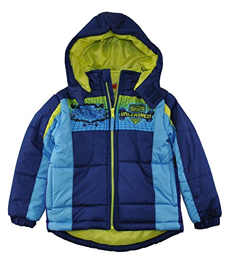 Paw Patrol Little Boys' Navy Blue & Multi Color Puffer Coat, 4