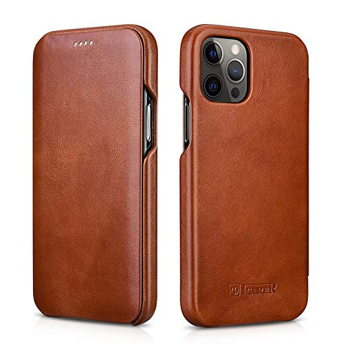 ICARER for iPhone 12 / iPhone 12 Pro Genuine Leather Case, Curved Edge Design Handmade Retro Ultra Thin Folio Flip Shockproof Dustproof Protection Cover for iPhone 12 /iPhone 12 Pro 6.1 inch (Brown 1)