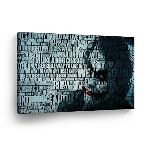 Heath Ledger Joker Quotes Mix Canvas Print Wall Art Digital Vector Painting Home Decor Poster Artwork Framed and Stretched- Ready to Hang -%100 Handmade in The USA - 8x12