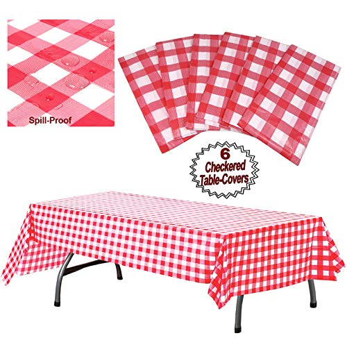 """Plastic Checkered Tablecloth   6 Pcs Pack - 54"""" Wide x 108"""" Long   Red and White Picnic Disposable Table Cover   Rectangular Gingham Tablecover for Birthdays, Carnivals, Parties   By Anapoliz"""