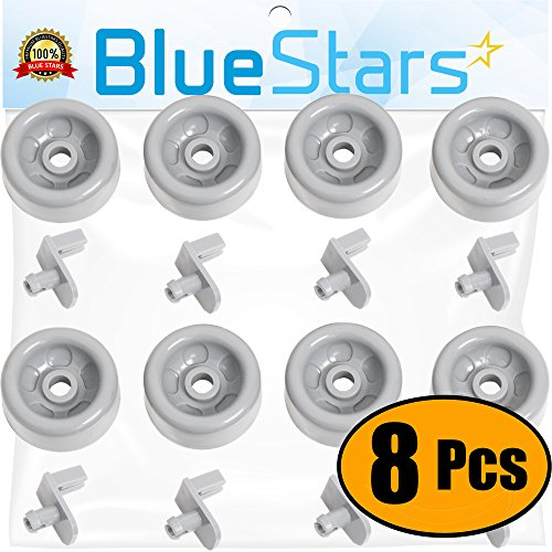 Ultra Durable WD35X21041 Dishwasher Lower Rack Roller And Axle Kit Replacement by Blue Stars – Exact Fit For GE Dishwashers – Replaces WD12X10261 WD12X10107 WD12X10136 WD12X10277 - PACK OF 8