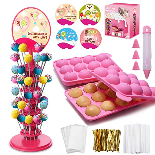 Cake Pop Making Kit with Lollipop Molds, 3 Tier Cake Pop Stand, Cake Pop Sticks, Candy Treat Bags, Decorating Pen, 4 Piping Tips, Gold Twist Ties For Lollipop, Cake Pop, Chocolate Party Decoration