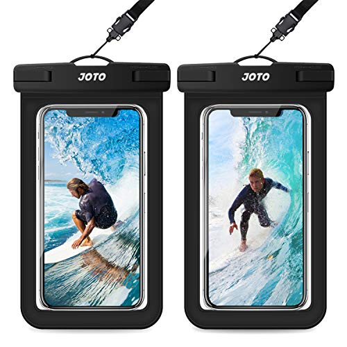 JOTO Universal Waterproof Pouch, IPX8 Waterproof Cellphone Dry Bag Underwater Case for iPhone 12 Pro Max 11 Pro Max Xs Max XR X 8 7 6S, Galaxy S20 Ultra S10 Note10 9 up to 7' -2 Pack, Black