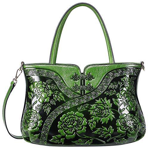 PIJUSHI Designer Floral Handbag for Women Top Handle Satchel Bags Cheongsam Shoulder Bag (22332 Green)