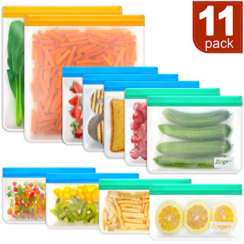 Reusable Food Storage Bags Sandwich - Anpro (11 Pack) Snack Bag for Kids with Double Zipper Seal Lock, Reusable Freezer Bags & Leakproof Ziplock Bags for Lunch