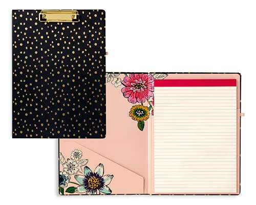 Vera Bradley Black Clipboard Folio with Refillable Lined Notepad, Interior Pocket, and Pen Loop, Midnight Gold Dots